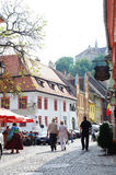 Tourists on Sighisoara streets Royalty Free Stock Photo
