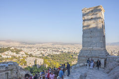 Tourists sightseeing Athena Nike Temple Stock Image