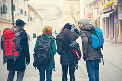 Tourists Sightseeing City. Group Of Young Tourists Sightseeing City Royalty Free Stock Image