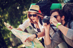 Tourists Sightseeing City Royalty Free Stock Photography