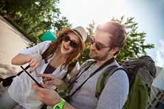 Tourists Sightseeing City Royalty Free Stock Photos