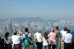 Tourists sightseeing Hong Kong