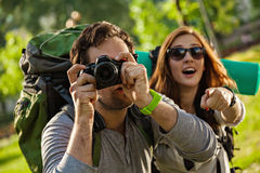 Tourists Sightseeing Nature Stock Image