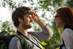 Tourists Sightseeing Nature Royalty Free Stock Images