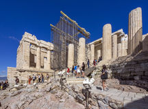 Tourists sightseeing at the Parthenon. Athens, Greece Royalty Free Stock Image