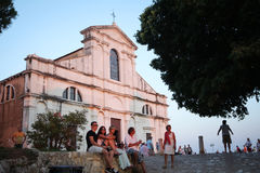 Tourists sightseeing Saint Eufemia church Royalty Free Stock Photography