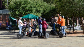 Tourists sightseeing on a Segway tour. Of San Antonio, Texas Royalty Free Stock Photo
