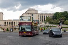 Tourists at sightseeing tour with autobus in Paris, France Stock Photo