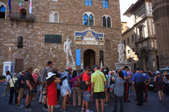 Tourists in the Signoria square, Florence Royalty Free Stock Photography