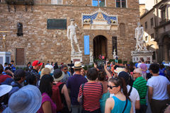 Tourists in the Signoria square, Florence Stock Photo