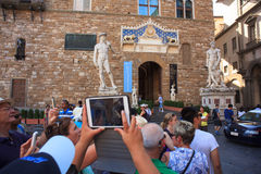 Tourists in the Signoria square, Florence Royalty Free Stock Photo