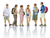 Tourists silhouettes Stock Photography