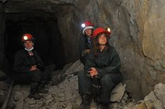 Tourists in  silver mine. Stock Images