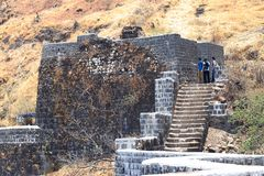 Tourists at Sinhagad fort, Pune, Maharashtra. India royalty free stock photo