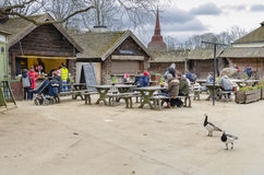 Tourists at Skansen museum in Stockholm stock image
