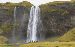 Tourists at  Skogafoss Royalty Free Stock Photo
