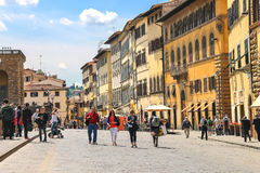 Tourists on a sloping square before the Palace Pitti Royalty Free Stock Photo