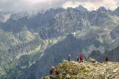 Tourists in Slovak High Tatra Mountains. Royalty Free Stock Image