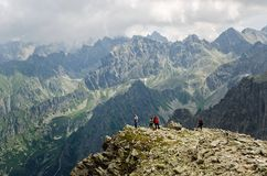 Tourists in Slovak High Tatra Mountains. Royalty Free Stock Photography