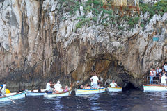 Tourists in small boats waiting to enter the Blue Grotto on Capr Royalty Free Stock Photography
