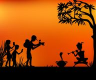 Tourists and snake charmer. Family of tourists photographing snake charmer under a tree vector illustration vector illustration