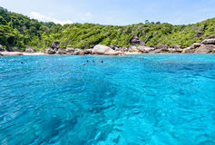 Tourists snorkeling at the Similan Islands in Thailand Royalty Free Stock Photography
