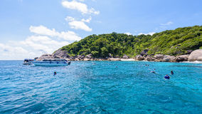 Tourists snorkeling at the Similan Islands in Thailand Stock Image