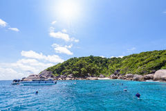 Tourists snorkeling at the Similan Islands in Thailand Stock Images