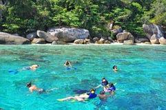 Tourists snorkeling at Skull Island stock image