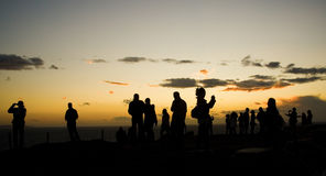 Tourists on Sounion cape in Greece Royalty Free Stock Photos