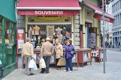 Tourists and Souvenirs in Bruges Stock Images