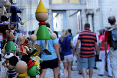 Tourists and souvenirs. In the center of Porec, Croatia Royalty Free Stock Photography