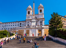 Tourists on the Spanish steps in Rome Royalty Free Stock Photo