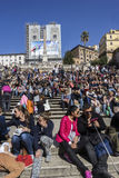 Tourists on Spanish Steps in Rome in Italy Royalty Free Stock Photography