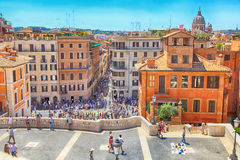 Tourists on Spanish Steps in Rome, Italy. royalty free stock image