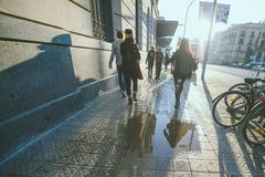 Tourists spend their time in the streets of Barcelona royalty free stock photo