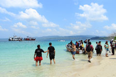 Tourists spend time in sea water in Jolly Buoy Island, Andamans Stock Photography