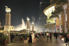 Tourists on the square in front of Dubai Mall Stock Image
