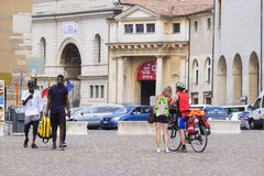 Tourists on a square infront of Ducal Palace in Mantua Stock Image