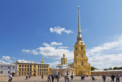 Tourists on the square before the Peter and Paul Cathedral, St. Petersburg Stock Photo
