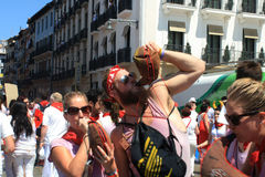 Tourists in the square of San Fermin Pamplona Stock Photography