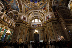 Tourists in St. Isaac`s Cathedral. Stock Images