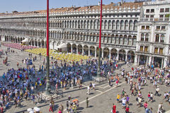 Tourists in St Mark`s Square Stock Photography