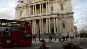 Tourists at St Paul's cathedral stock footage