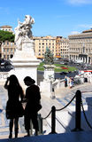 Tourists at the stairs of the National Monument, Rome Stock Images
