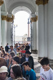 Tourists stand in queue long hours in the State Hermitage Museum Royalty Free Stock Photos