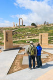 Tourists standing at the entrance of the Citadel in Amman, Jordan Stock Photography