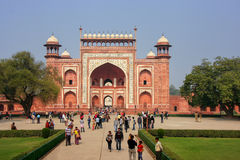 Tourists standing near Darwaza-i-Rauza Great Gate in Chowk-i J Royalty Free Stock Photography