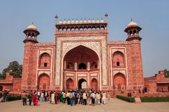 Tourists standing near Darwaza-i-Rauza Great Gate in Chowk-i J Stock Image