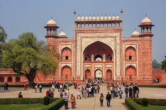 Tourists standing near Darwaza-i-Rauza Great Gate in Chowk-i J Royalty Free Stock Image